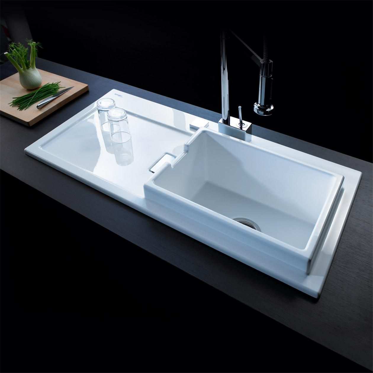 Evier c ramique duravit starck k60 blanc 1 grand bac for Evier double bac ceramique