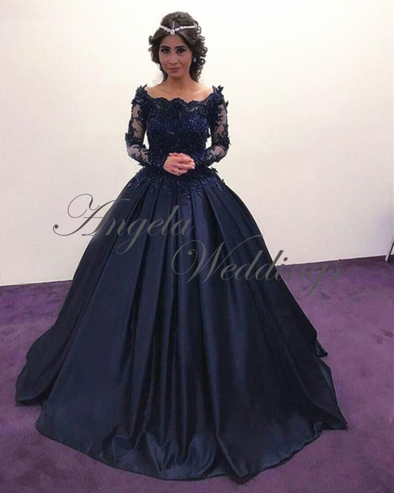 Navy Blue Lace Full Sleeve Ball Gown Prom Dresses with Flowers ...