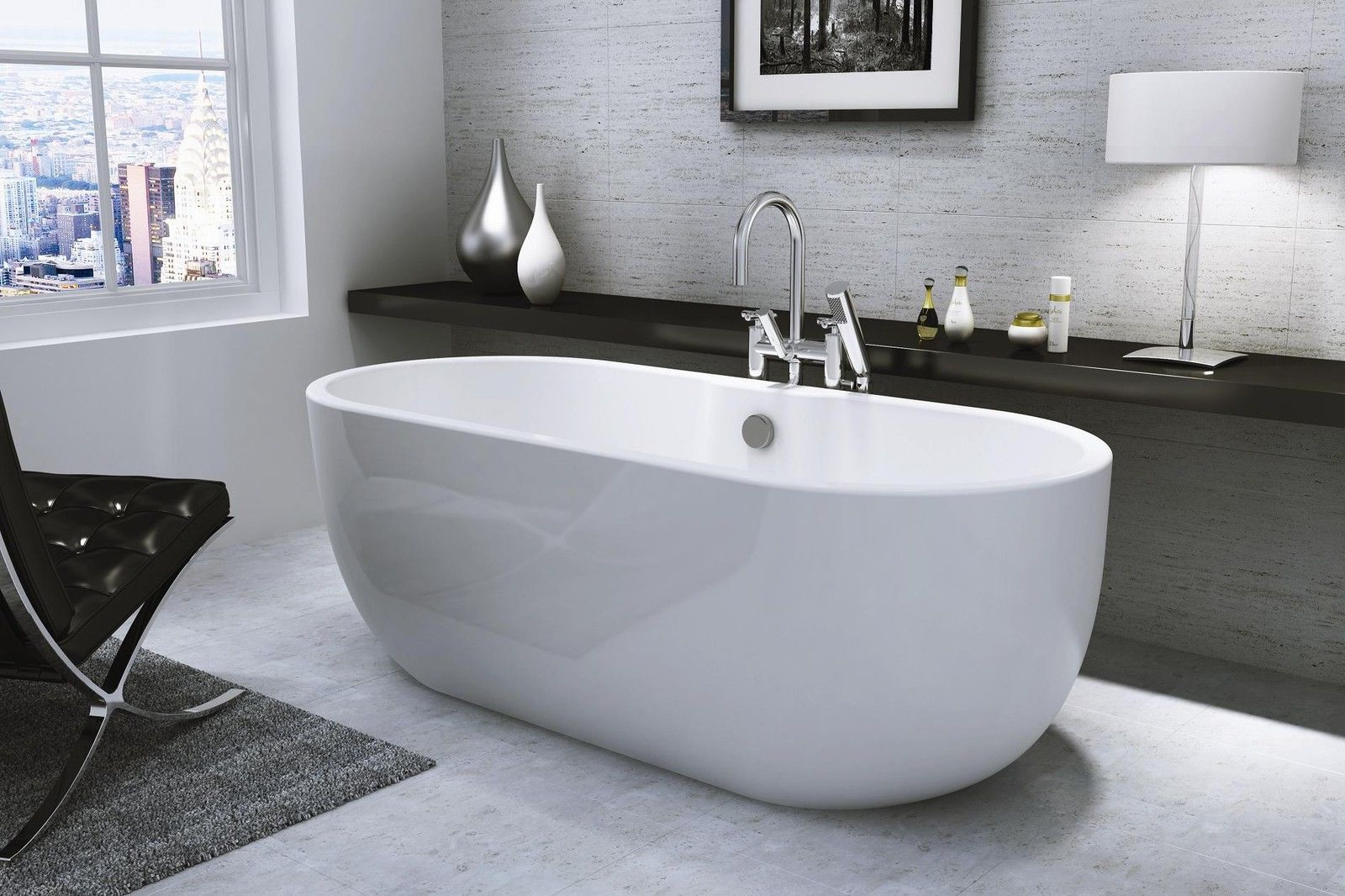 Freestanding Bath Tub Modern Roll Top Oval Double Ended 1655mm Curve ...