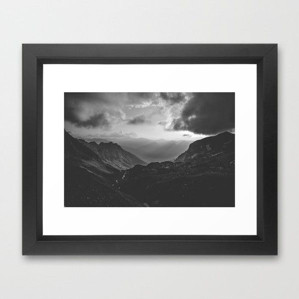 Valley black and white landscape photography framed art print 35 ❤ liked on polyvore