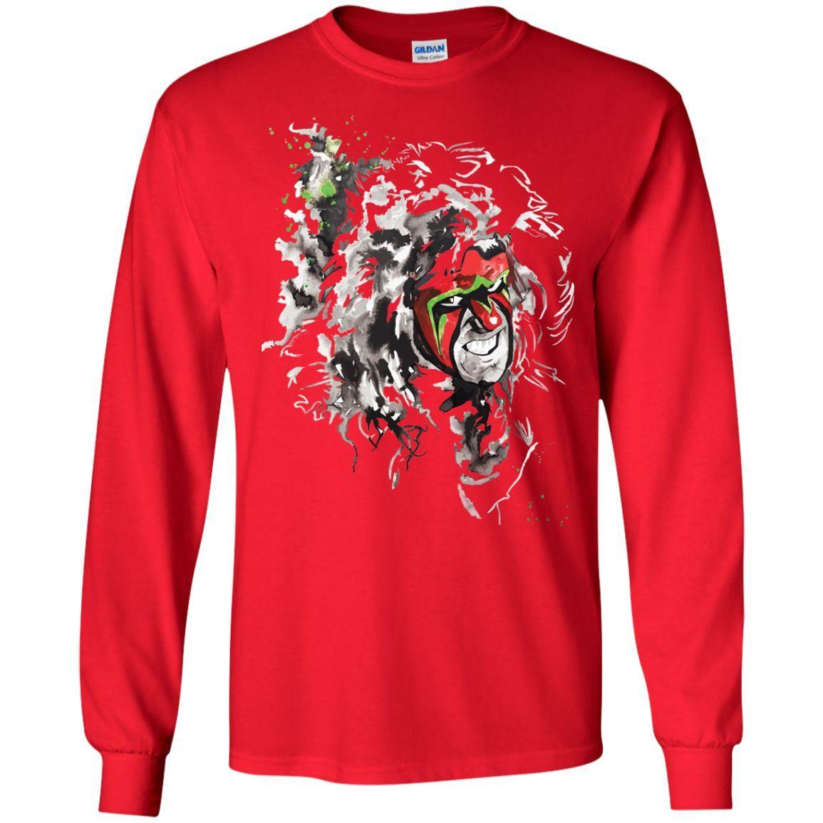 WWE Ultimate Warrior Mens White T-shirt (1)-01 LS Ultra Cotton Tshirt