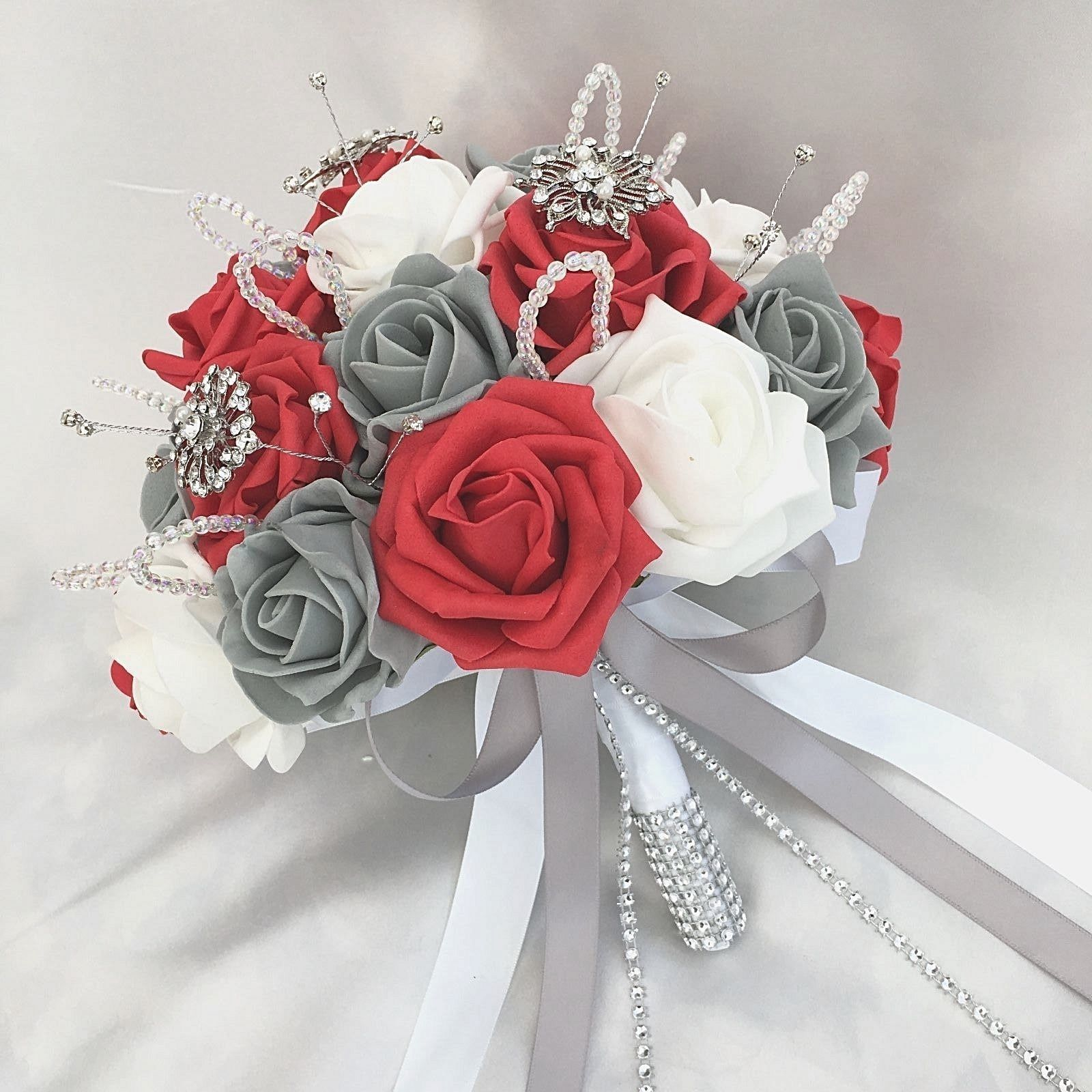 Red And White Wedding Flowers Curvy Brides Posy Bouquet Red White Grey Roses Artif Red Wedding Flowers Red Wedding Theme Artificial Flowers Wedding
