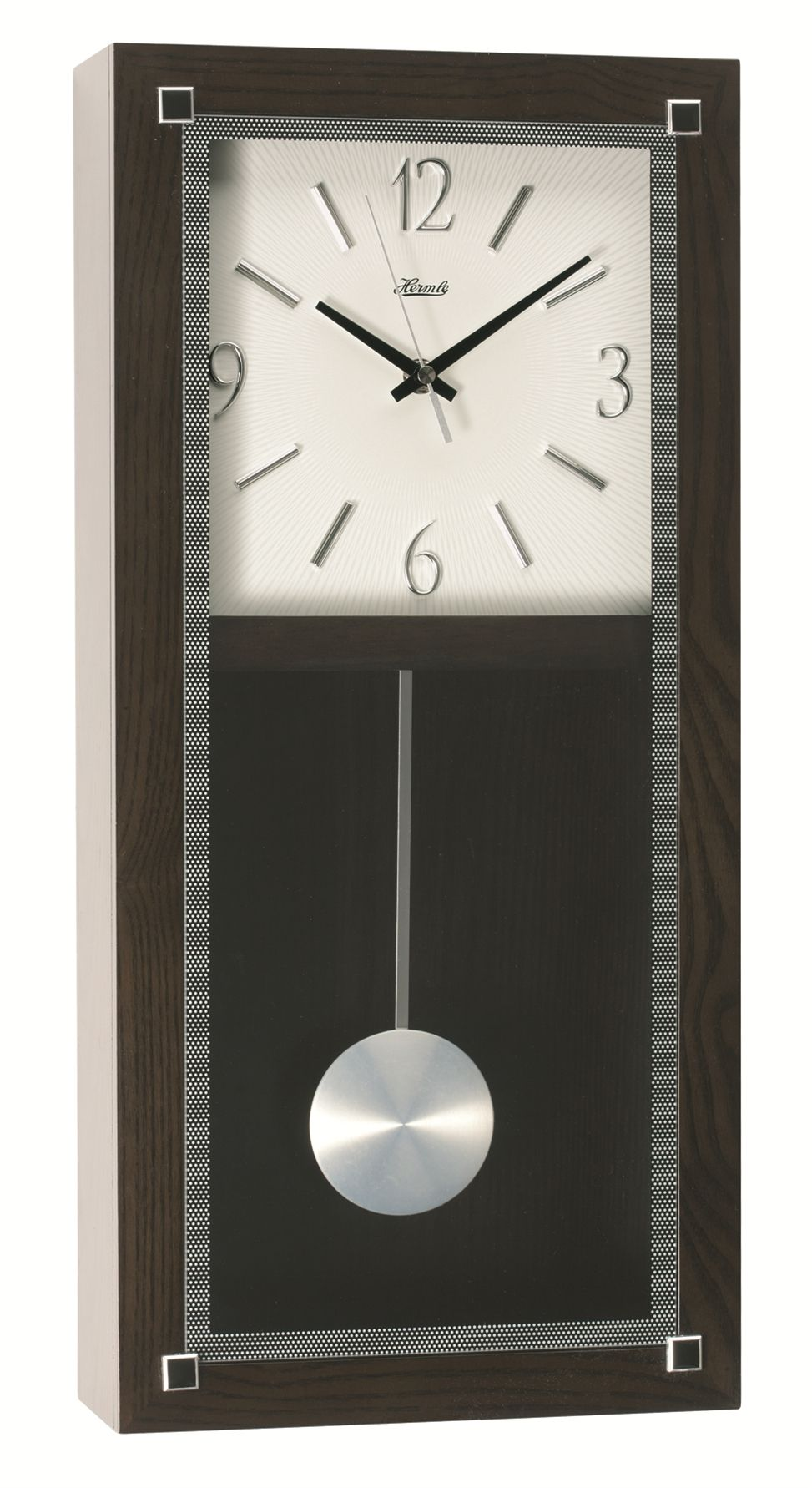 Add A Contemporary Look To Your Room With This Hermle Battery Operated Pendulum Clock The Modern Play Of Interesting Shapeaterials Such As Gl
