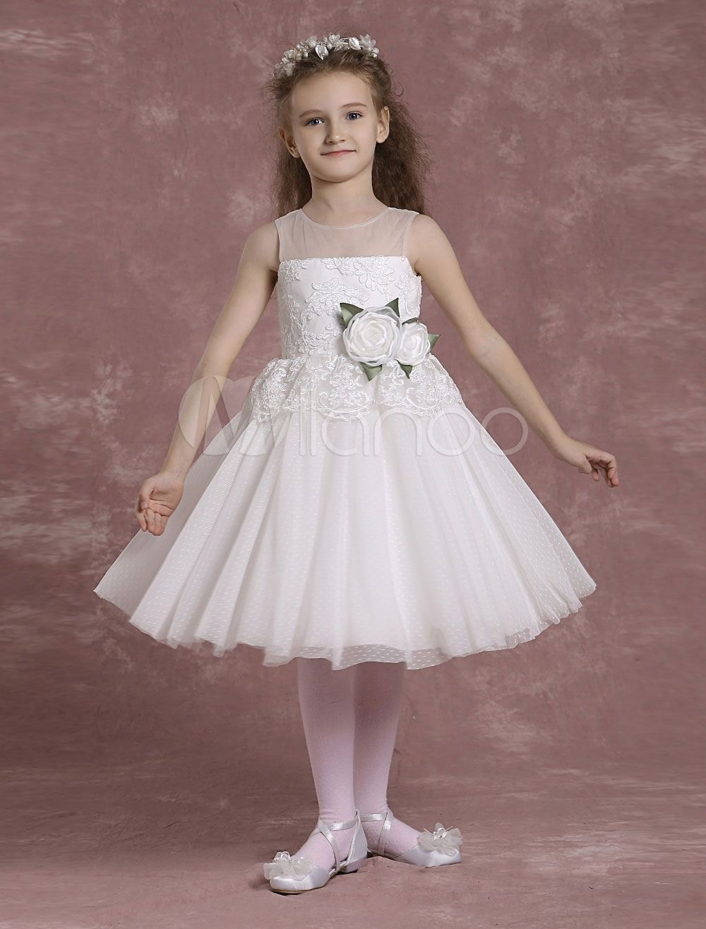 Flower girl dresses tulle lace illusion neck pagea