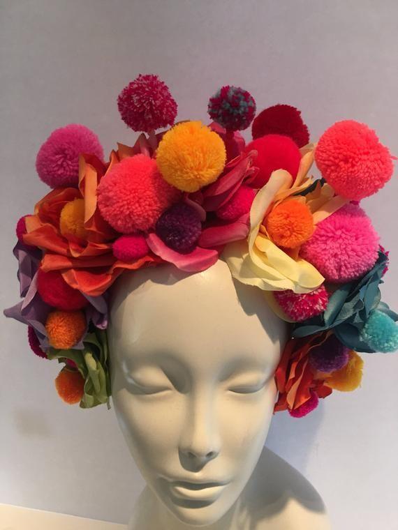 Red Pink pompom Mini Felt Flower Crown Baby Headband Rose Headband Flower girls accessories Blue Wool Felt Flower Crown in
