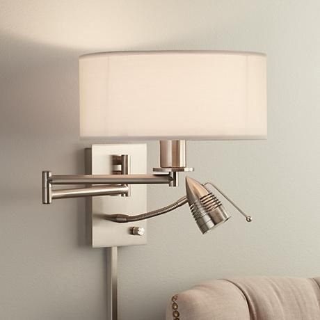 Possini euro tesoro led reading swing arm wall lamp - Bedroom reading lights wall mounted ...