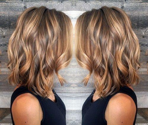 Long Brown Bob With Caramel Highlights Thin Hair Haircuts Medium Hair Styles Hair Styles