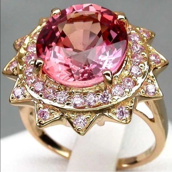 Pink Padparadscha Sapphire 6 4ct Gold Over Silver Padparadscha Sapphire Pink Gold Rings Padparadscha