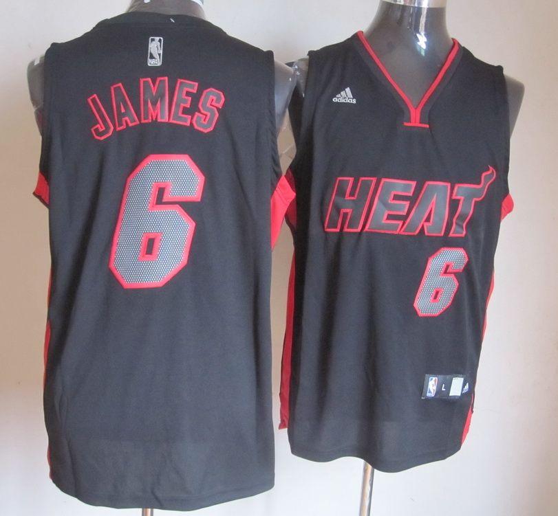 1b14f692e Adidas NBA Miami Heat 6 LeBron James New Revolution 30 Swingman Black Red  Jersey