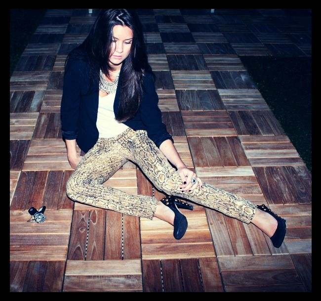 Tory Burch Snake Print Pants, Gucci Studded Pumps, Hugo Boss Blazer, American Apparel T-Shirt