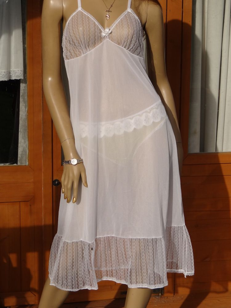 a1e5aec784d AUTHENTIC VINTAGE 1960 S SEE THRU SILKY NYLON FULL SLIP SIZE -36 AVAILABLE  FROM DOLLOSLINGERIE.COM