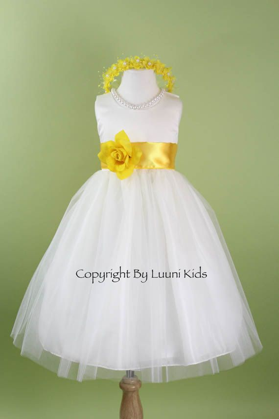 Flower girl dress white tulle dress with yellow sash bridesmaid flower girl dress white tulle dress with yellow sash bridesmaid communion easter mightylinksfo