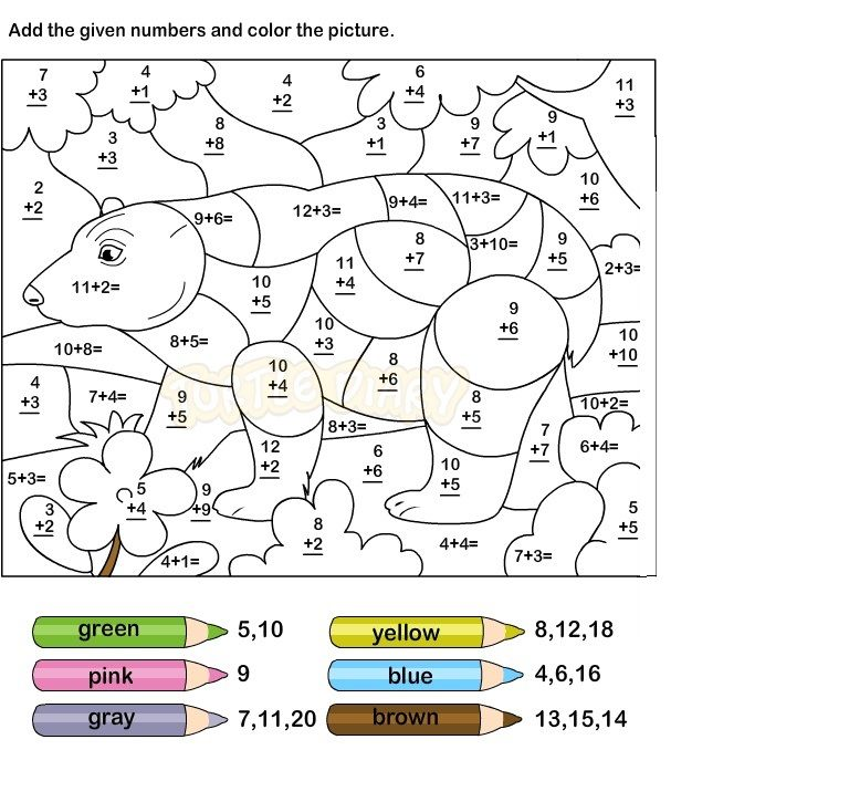Addition Coloring Worksheets For Grade 1 (With images