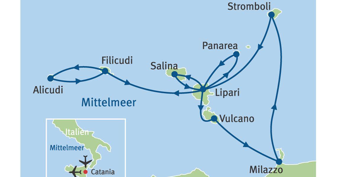 Mittelmeer Karte Inseln.Rundreise Italien Liparische Inseln Karte Maris Reisen