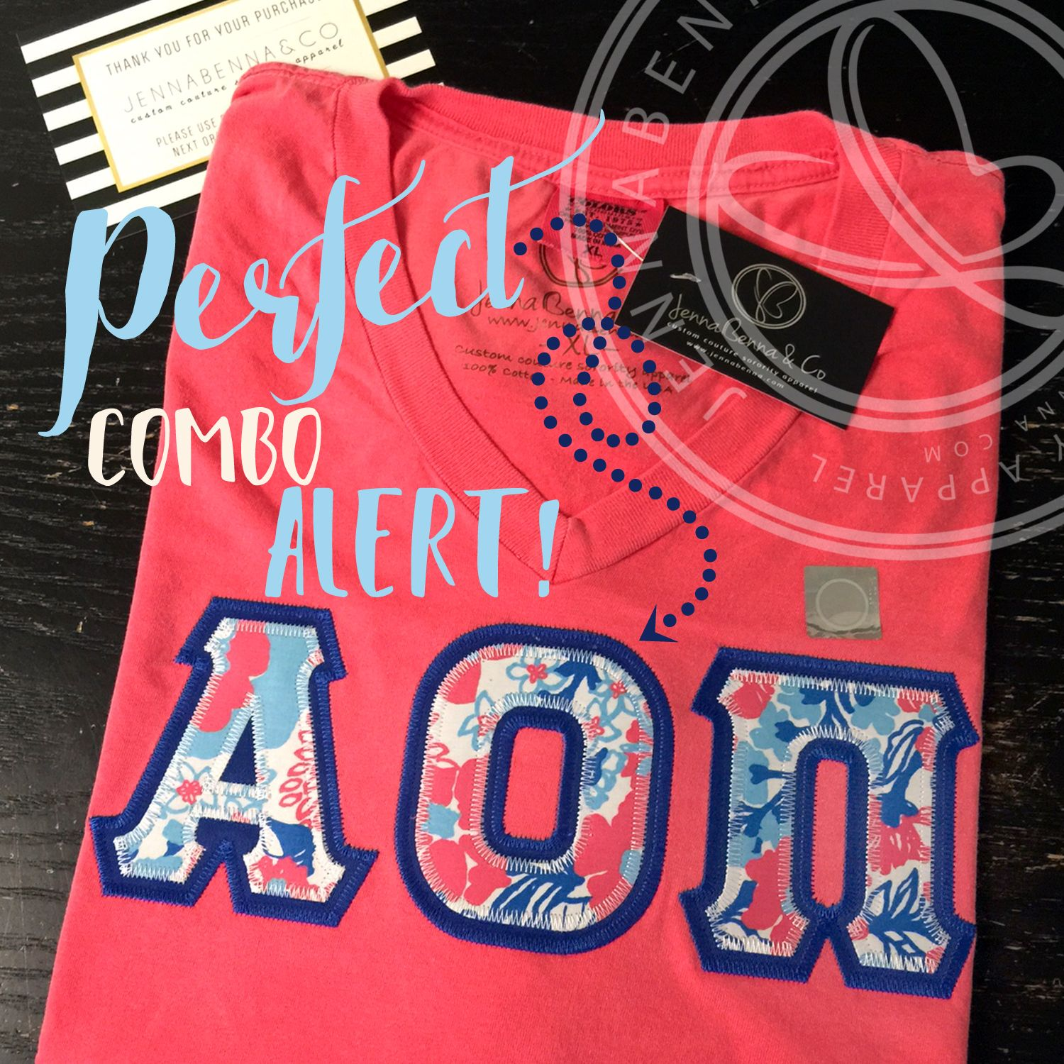 SHELL YEAH! Cheers to an awesome perfect combo!!!! Jessica G., from TN, did a phenomenal job pairing these colors up! This is a Comfort Colors Unisex V-Neck Tee in Watermelon with Lilly White Shell Yeah & Royal Blue Twill. - - - #JennaBennaCo #AlphaOmicronPi #AOII #lettersoftheday #LOTD #LiveLoveLetters
