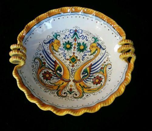 Vintage Grazia Deruta Italy 8 Majolica Raffaellesco Pottery Serving Bowl Rare Deruta Raffaellesco Majolica