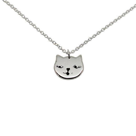 Gato cara de collar - plata esterlina