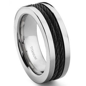 Titanium 8mm Double Black Cable Ring Mens Wedding Rings Custom Wedding Rings Wedding Rings Unique