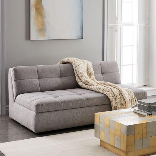 Armless Sofas Brown Sofa Gray Walls Plateau 68 Office Living Room