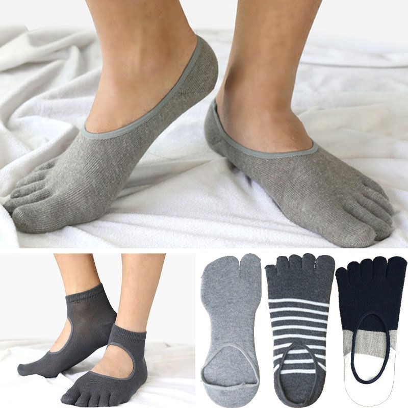 Mens Cotton Striped Toe Socks Hollowed Out Gray Black Business Dress ...