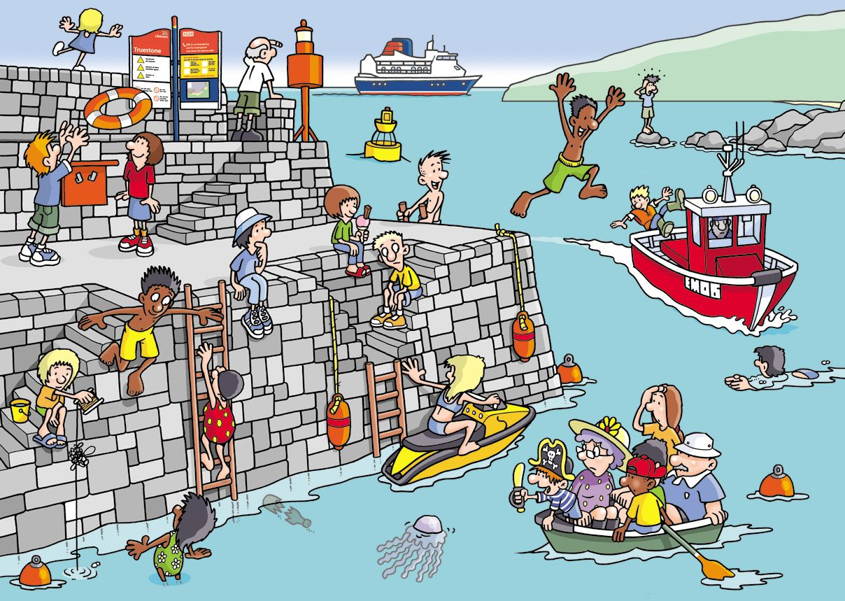 RNLI Laughboat Crew Kids Water poster, Stay safe, Safe