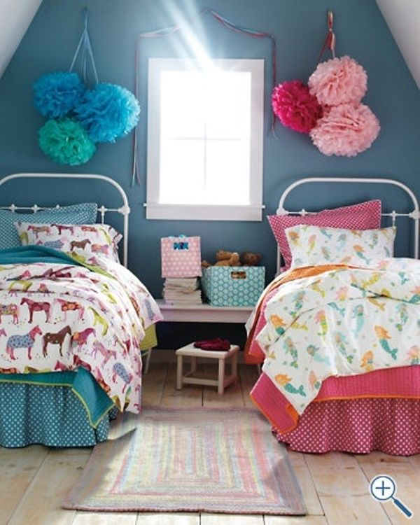 Creative Bedrooms That Any Teenager Will Love: 12 Blue And Pink Shared Kids' Rooms