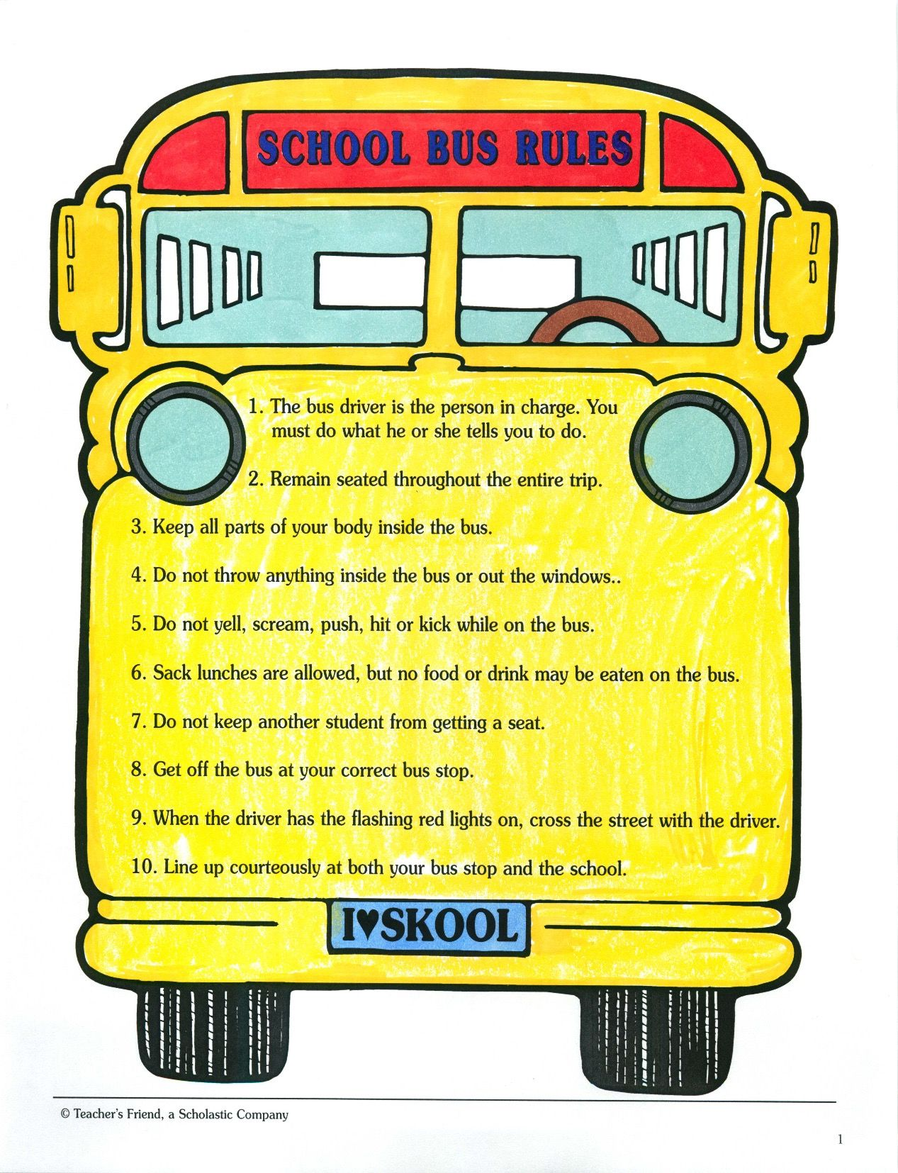 picture relating to Printable School Bus Rules known as Start out the yr off via talking about 10 main #security legislation for