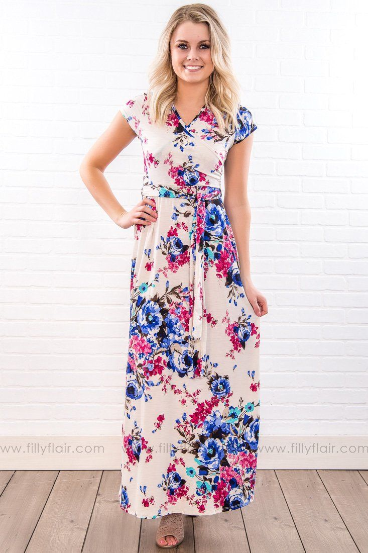 Social butterfly floral short sleeve tie maxi dress in ivory