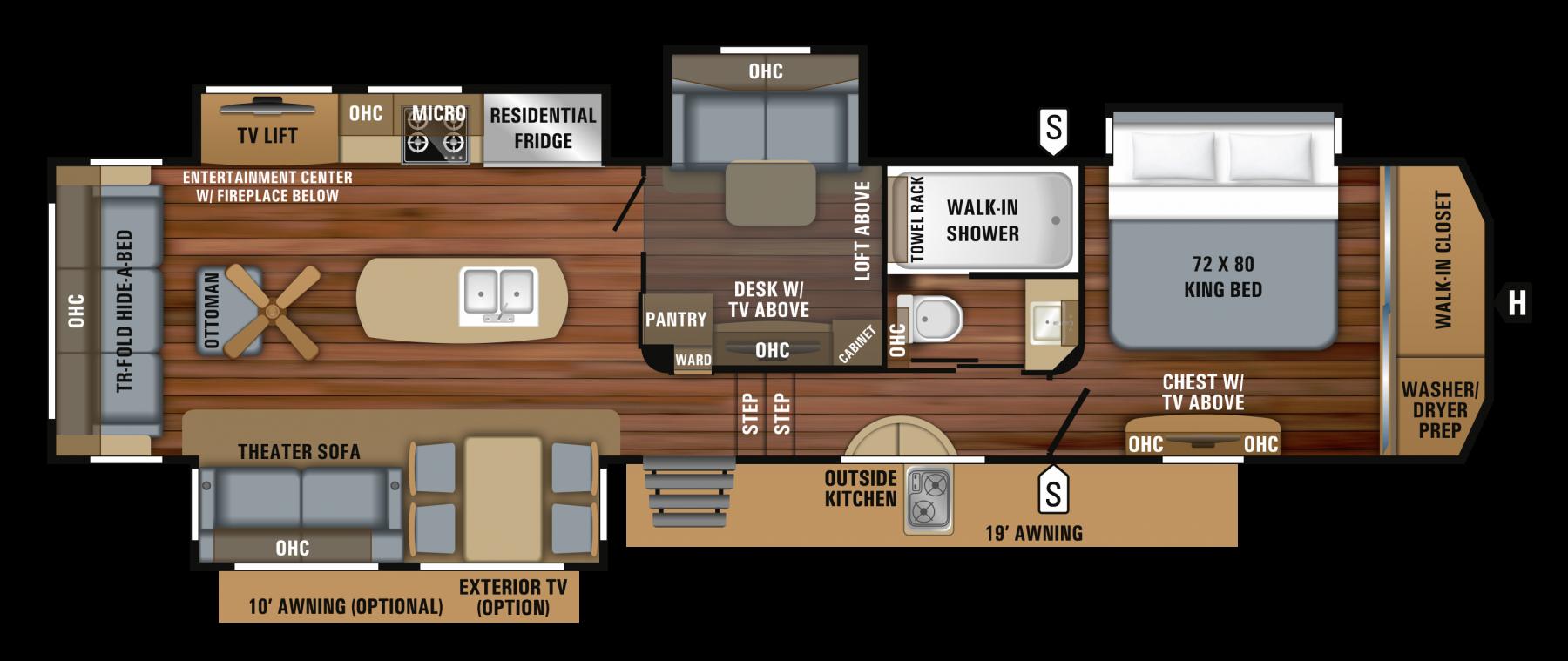 2019 Pinnacle 37mdqs Floorplan Rv Floor Plans Rv Living Full Time Rv Living