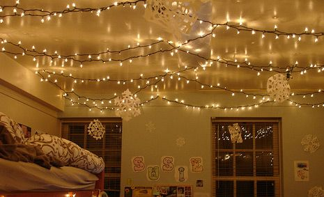 Bedroom Fairy Lights Ideas | Ceiling canopy and Ceiling