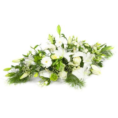 Raquette Vert Blanc Avec Images Fleurs Deuil Livraison Fleurs