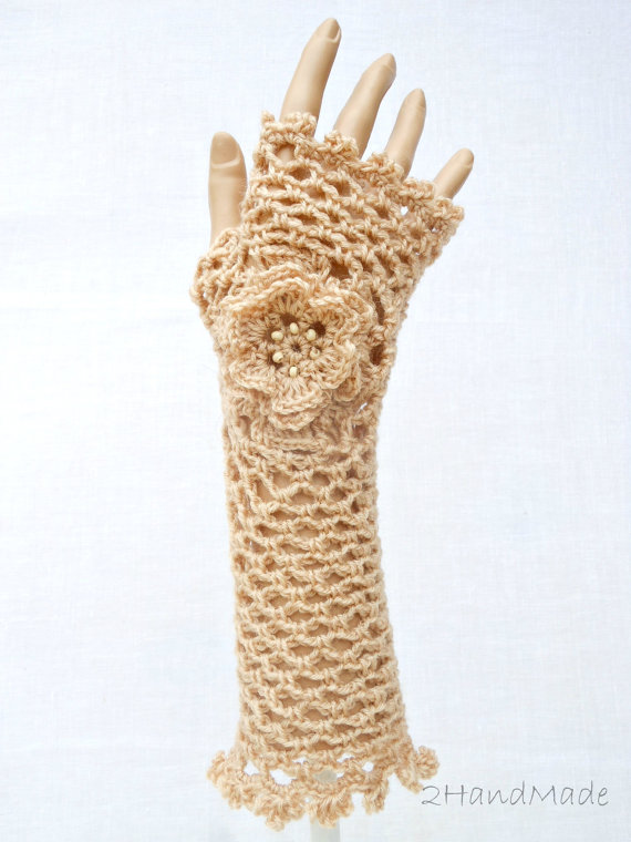 Irish Lace Crochet Fingerless Gloves Hand Warmers Merino Wool Soft ...