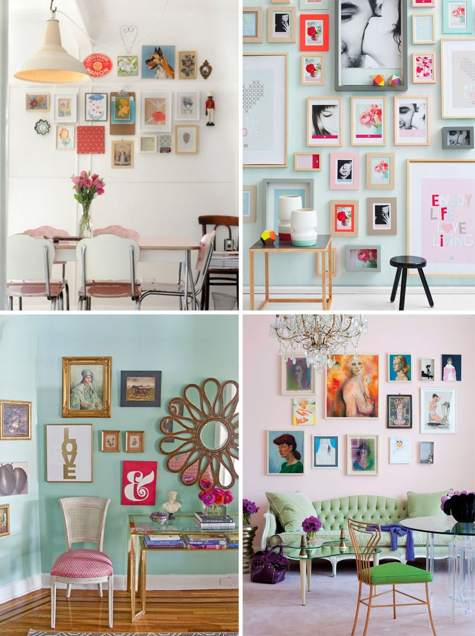 Color of art gallery walls - Create A Feminine And Romantic Space With A Pastel Wall And Bright Color Art Prints