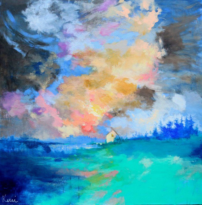 Be Home By Morning 36x36 Colorful Abstract Landscape Painting With Farmhouse Original In 2020 Abstract Landscape Painting Abstract Expressionist Art Landscape Paintings