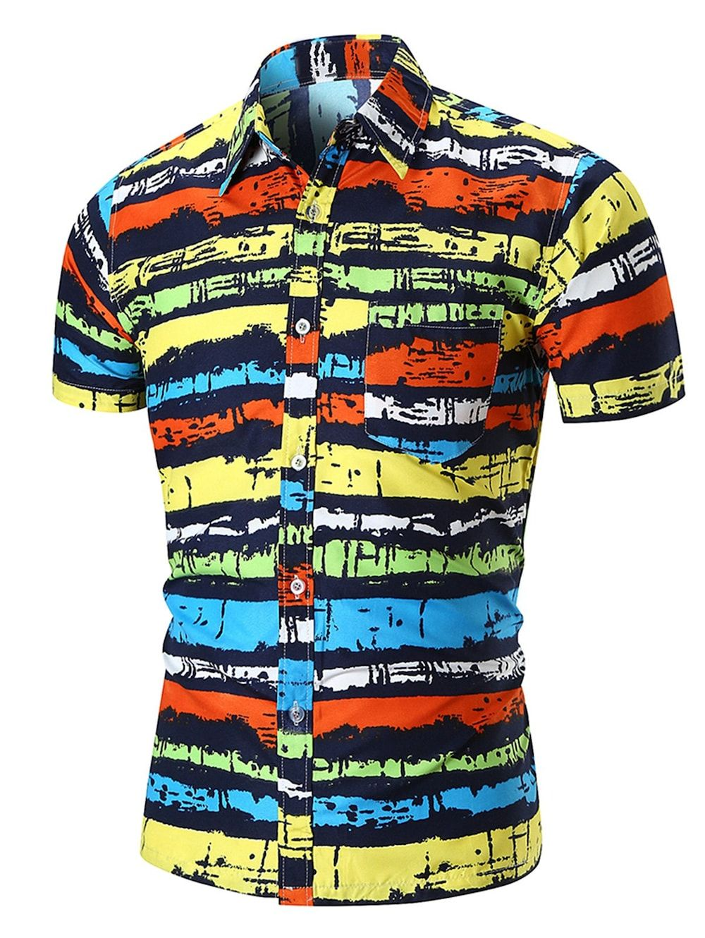 98d1f9c9f Button Up Colorful Stripe Pocket Design Shirt - multicolor XL ...