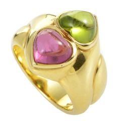 Bulgari Peridot Tourmaline Gold Heart Ring
