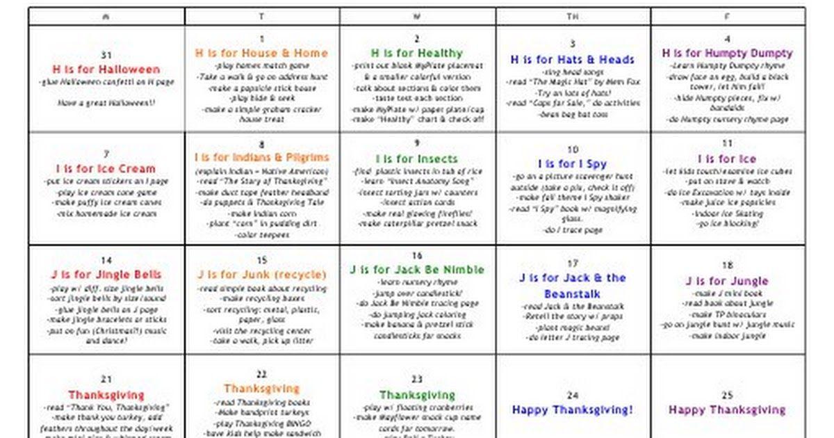 Preschool November Pdf Lesson Plans For Toddlers December