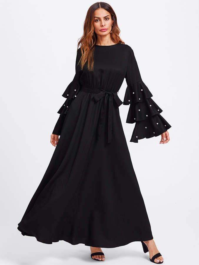 Womens Ladies Jilbab Abaya Pearl Belted Cocktail Maxi Dress Frill Front Dubai
