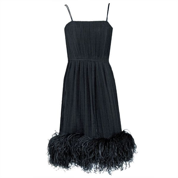 Pre-owned 1970's Bob Mackie Black Pleated Silk & Ostrich-Feathers... ($1,800) ❤ liked on Polyvore