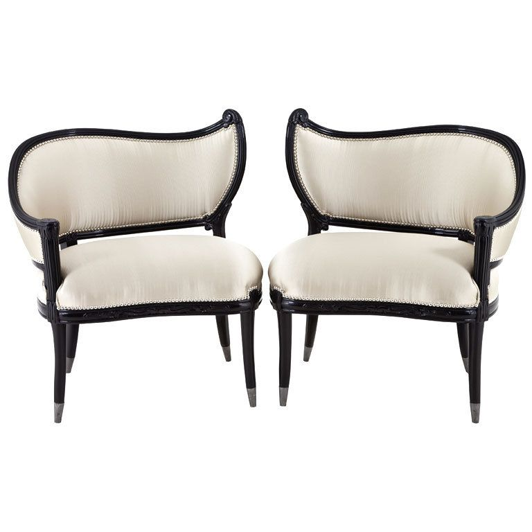 Great Pair Of Antique Black Lacquer Hollywood Regency Accent Chairs