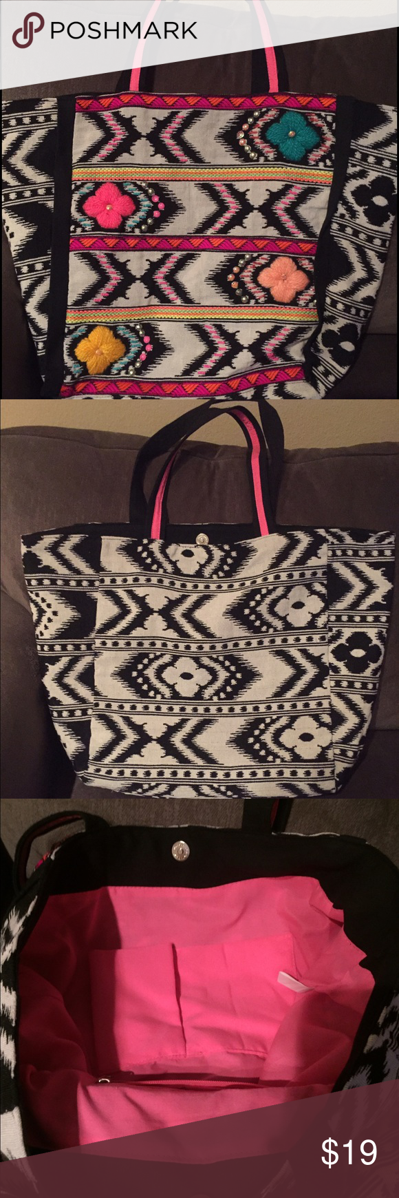 Stephanie Nicole boho tote Boho tote with a beautiful pattern. Smoke and pet free home. In excellent condition. Rarely used. Stephanie Nicole Bags Totes