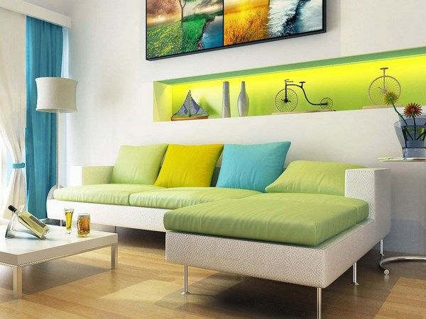 analogous colors in modern living room blue green | Interior color ...