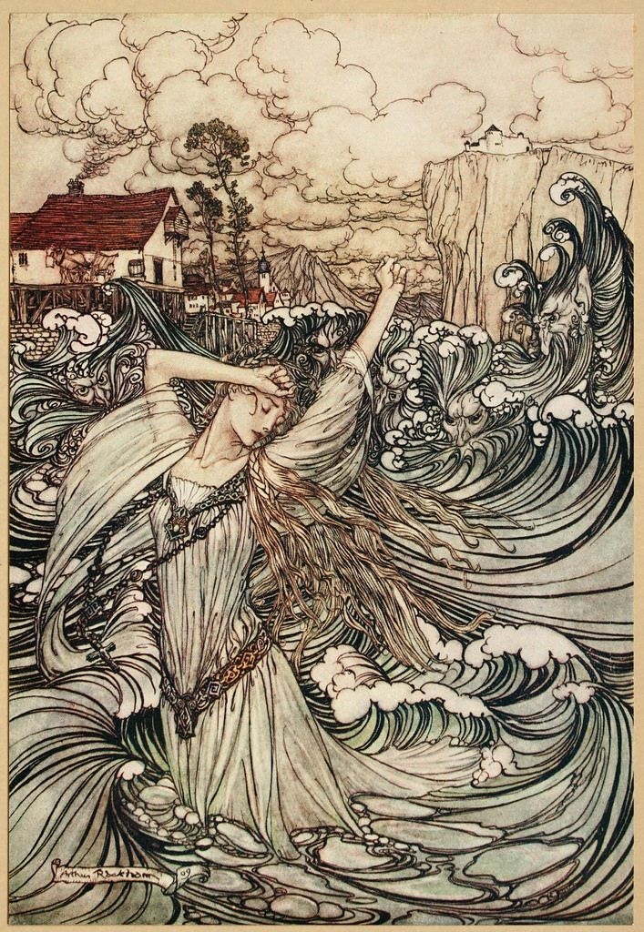 Arthur Rackham Undine 1909 Soon She Was Lost To Sight In The Danube Fairytale Art Fantasy Art Arthur Rackham