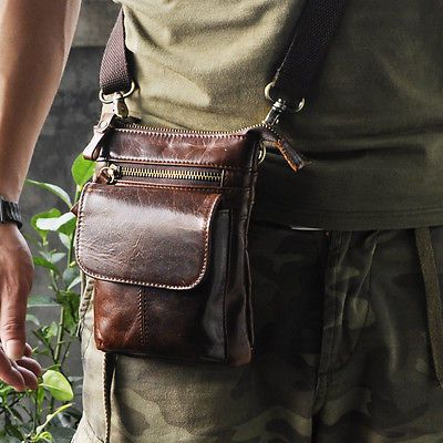 Mens Genuine Leather Sling Messenger Shoulder Hook Waist Hip Bum Fanny Pack Bag