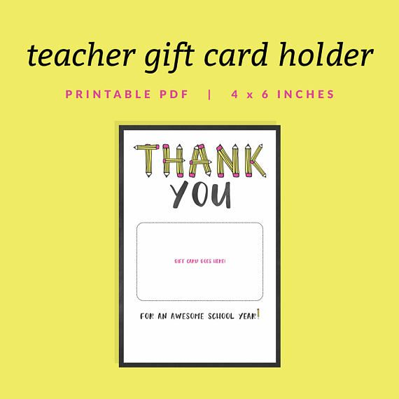 Teacher Gift Card Holder Printable Thank You Gift Card Holder