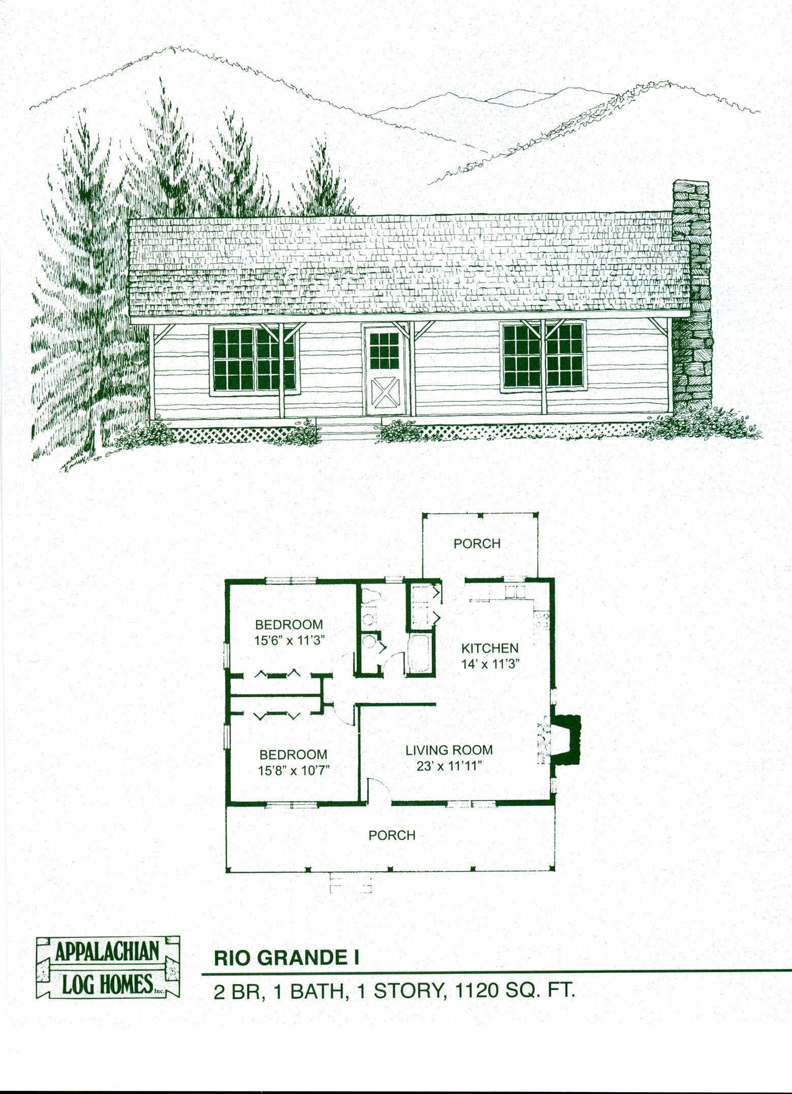 Appalachian Log and Timber Homes: Rio Grande I Profile: 2 BR, 1 ...