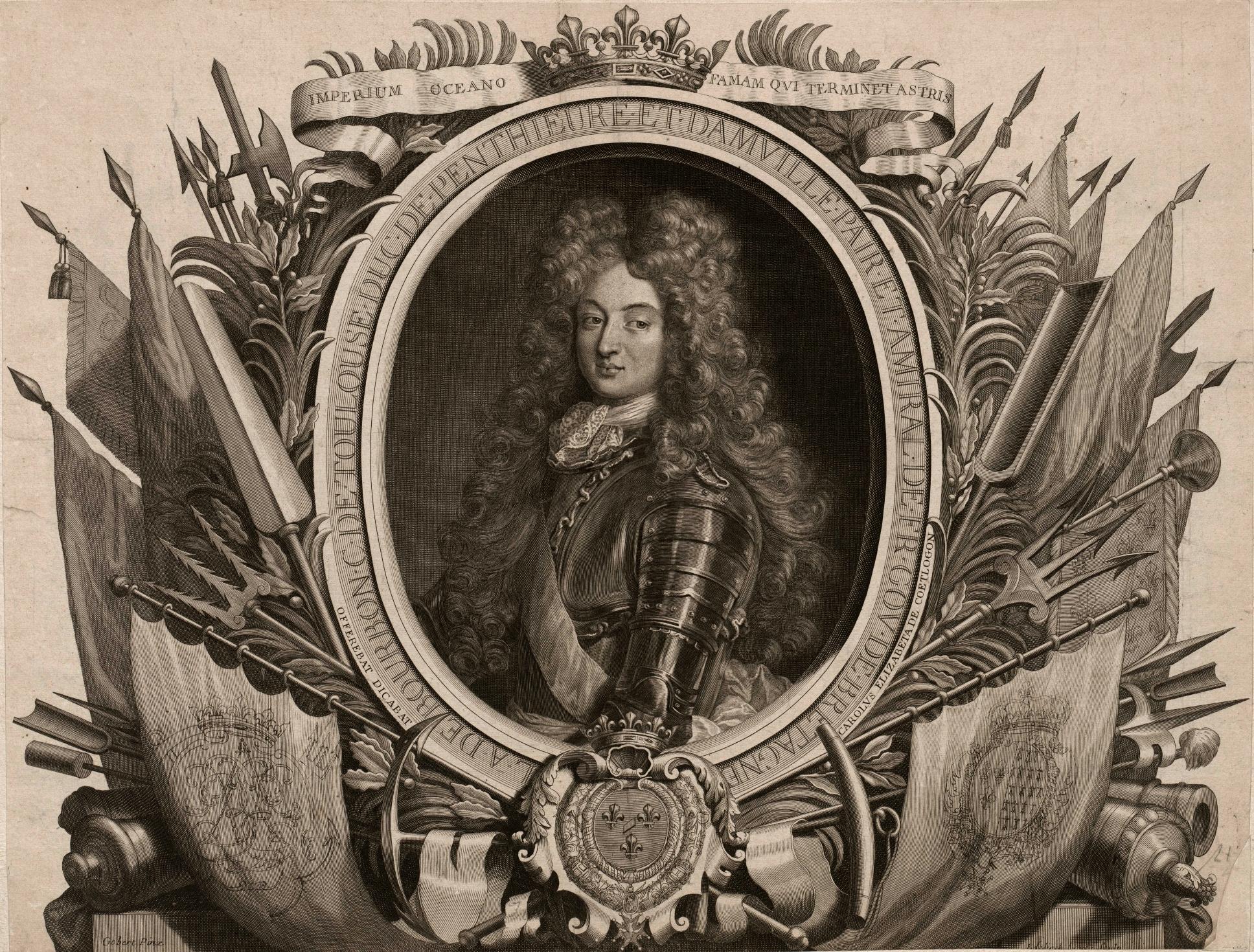 Prince Louis-Alexandre de Bourbon, Comte de Toulouse (1678 - 1737), Duc de Penthièvre, de Rambouillet et de Châteauvillain, Prince de Lamballe, Pair et Prince du Sang de France. Fils légitimé du roi Louis XIV et de la Marquise de Montespan.