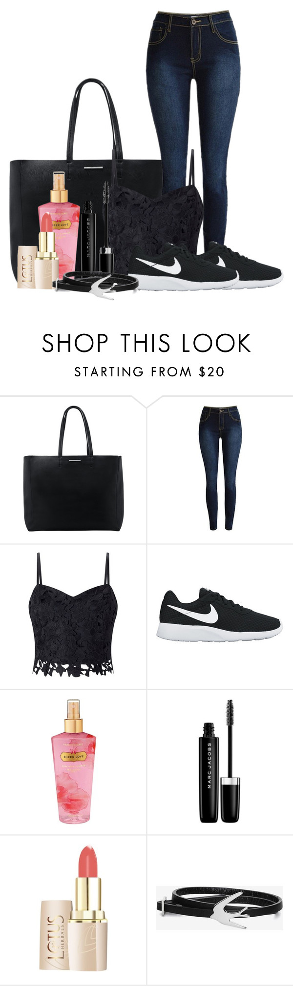 """My sis"" by agnes-wistedt ❤ liked on Polyvore featuring MANGO, Lipsy, NIKE, Victoria's Secret, Marc Jacobs and McQ by Alexander McQueen"