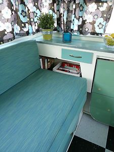 1964 Kenskill vintage canned ham travel trailer in RVs & Campers | eBay Motors (love the side shelves, drawer, and cubbies on this camper)