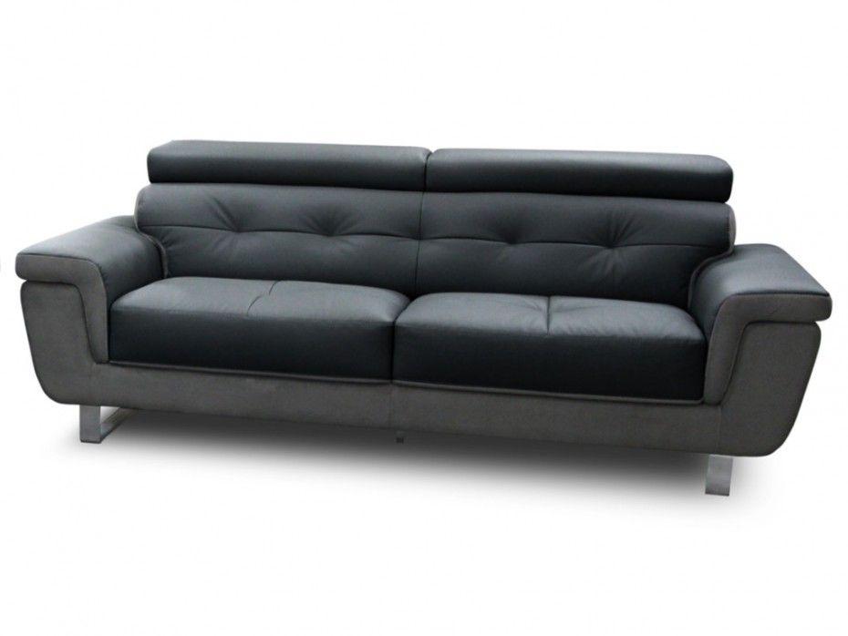 Canapé 3 places ANDERSON cuir de buffle et suédine gris pas cher